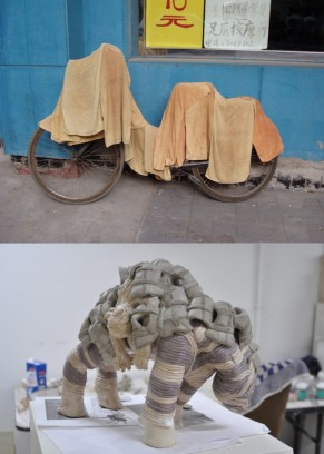 Bicycle in China and zebra and baboon covered with life jackets